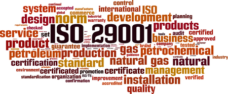 ISO 29001 word cloud concept vector illustration.