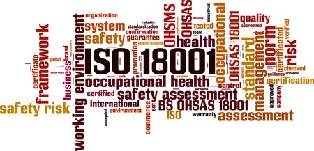 ISO 18001 word cloud concept vector illustration. Ilustração
