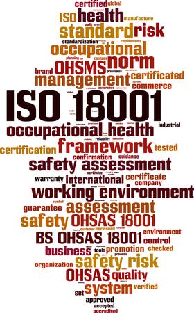 ISO 18001 word cloud concept vector illustration. Vettoriali