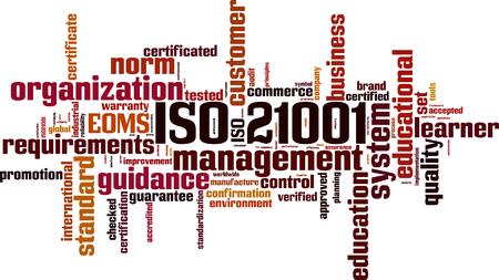 ISO 21001  word cloud concept. Vector illustration Illustration
