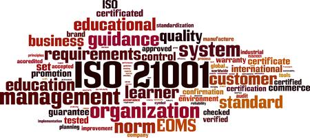 ISO 21001  word cloud concept. Vector illustration Vettoriali