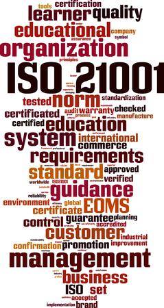 ISO 21001  word cloud concept. Vector illustration Ilustração