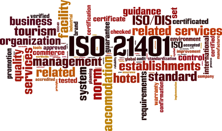 ISO 21401 word cloud concept vector illustration. Illustration