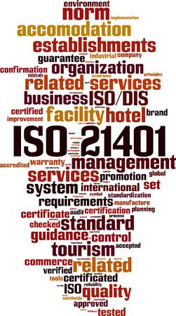 ISO 21401 word cloud concept vector illustration. Ilustração