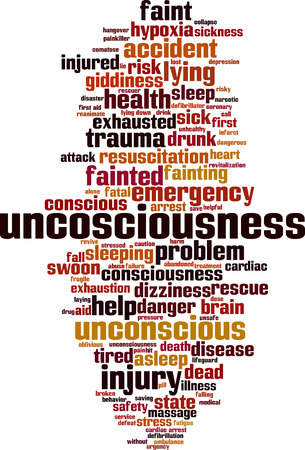 Unconsciousness  word cloud concept. Vector illustration Illustration