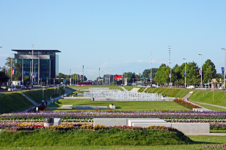 CROATIA ZAGREB, 30 JUNE 2017: A view of City Park with Fountains and Street Croatian Fraternal Union, Zagreb, Croatia
