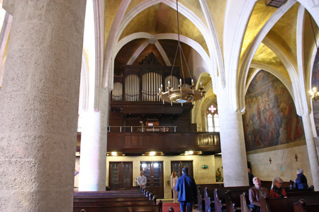 CROATIA ZAGREB, 1 OCTOBER 2017: Pipe organ in the church of St. Mark, Zagreb
