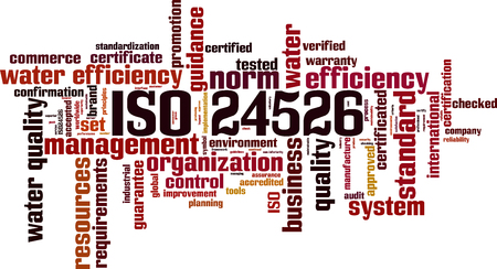 ISO 24526  word cloud concept. Vector illustration