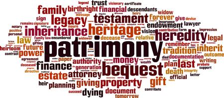 Patrimony word cloud concept. Vector illustration  イラスト・ベクター素材
