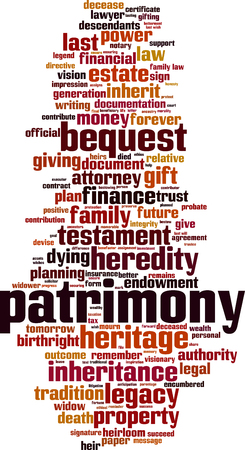 Patrimony word cloud concept. Vector illustration 일러스트