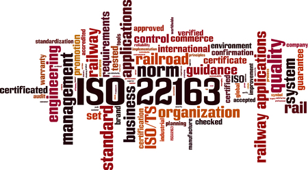 ISO 22163 word cloud concept in colored illustration.