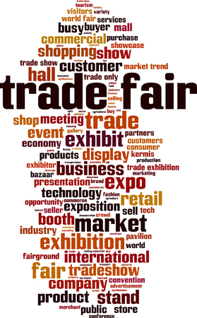 Trade fair word cloud concept in colored illustration.