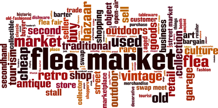 Flea market word cloud concept. Vector illustration