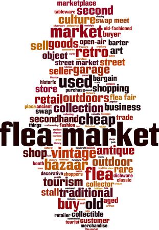 Flea market word cloud concept. Vector illustration