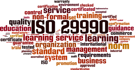 ISO 29990 word cloud concept. Vector illustration
