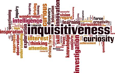 Inquisitiveness word cloud concept. Vector illustration