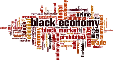Black economy word cloud concept. Vector illustration Illustration