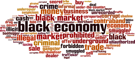 Black economy word cloud concept. Vector illustration  イラスト・ベクター素材