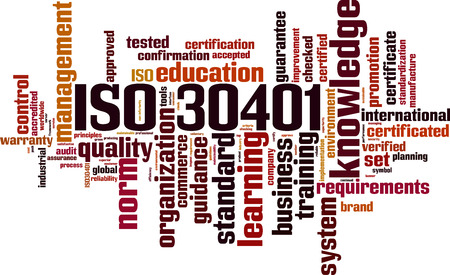 ISO 30401 word cloud concept. Vector illustration