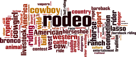 Rodeo word cloud concept. Vector illustration