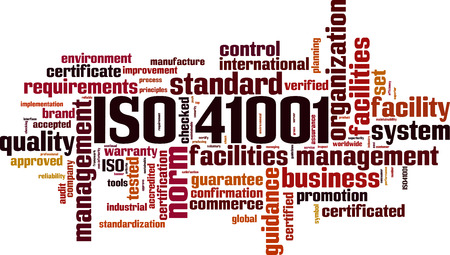 ISO 41001 word cloud concept. Vector illustration Vettoriali