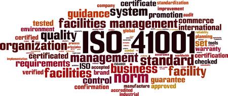 ISO 41001 word cloud concept. Vector illustration Ilustração