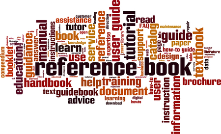 Reference book word cloud concept. Vector illustration