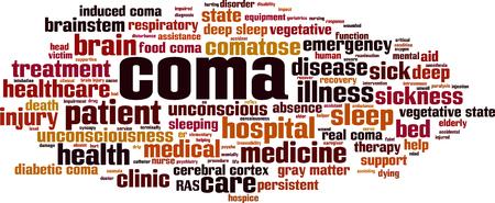 Coma word cloud concept. Vector illustratie Vector Illustratie