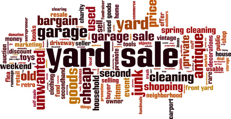 Yard sale word cloud concept. Vector illustration Illustration