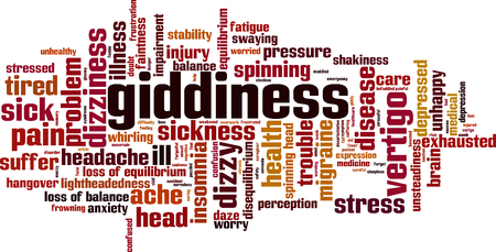 Giddiness word cloud concept. Vector illustration
