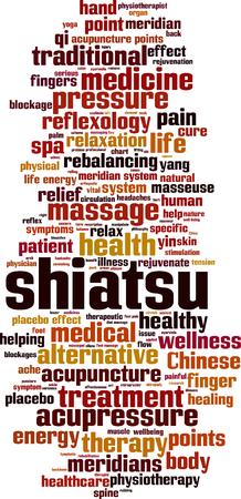 Shiatsu word cloud concept. Vector illustration