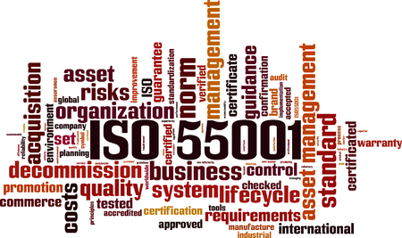 ISO 55001 word cloud concept. Vector illustration Vettoriali