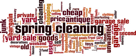 Spring cleaning word cloud concept. Vector illustration