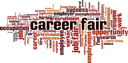 Career fair word cloud concept vector illustration.