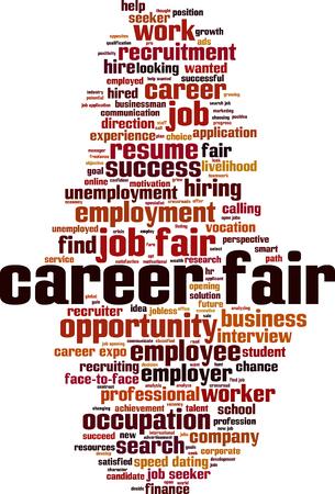 Career fair word cloud concept vector illustration.
