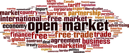 Open market word cloud concept vector illustration.