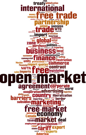 Open market word cloud concept. Vector illustration Illustration