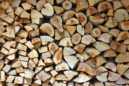 Material for heating the house. Preparation of firewood for the winter. background of firewood