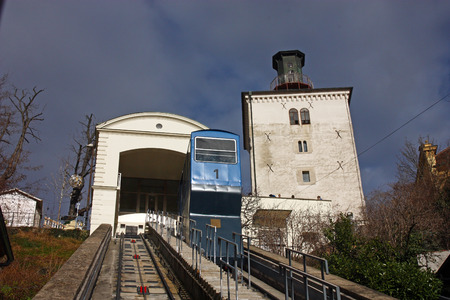Zagreb Funicular, connecting the Ilica street with Strossmayer promenade, and Lotrscak Tower Editorial