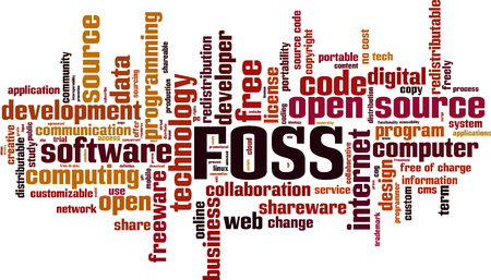 FOSS word cloud concept Vector illustration