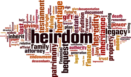 Heirdom word cloud concept Vector illustration Illustration
