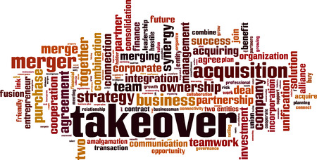Takeover word cloud concept Vector illustration