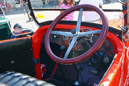 CROATIA SAMOBOR, 17 JULY 2011: Cockpit of classic car, Dodge Brothers Roadster from 1924, 14. Oldtimer Rally in Samobor, Croatia