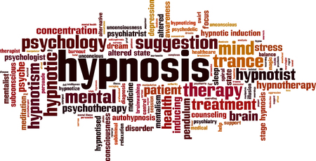 Hypnosis word cloud concept. Vector illustration Vettoriali