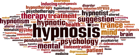 Hypnosis word cloud concept. Vector illustration Ilustracja