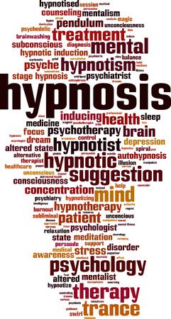 Hypnosis word cloud concept. Vector illustration Foto de archivo - 100182239