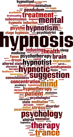 Hypnosis word cloud concept. Vector illustration Illustration