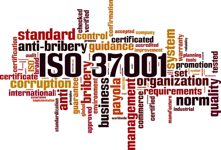 ISO 37001 word cloud concept. Vector illustration Ilustração