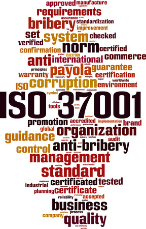 ISO 37001 word cloud concept. Vector illustration Illustration