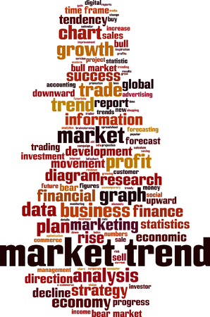 Market trend word cloud concept. Vector illustration